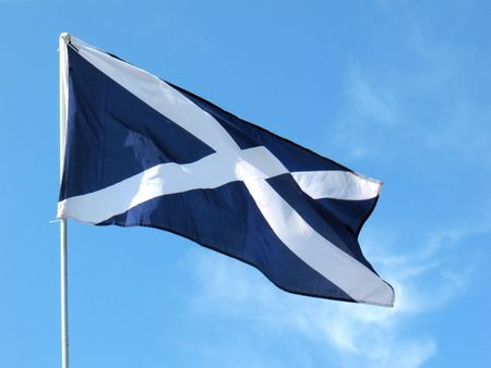 flagpoles: This flag is the cross of St. Andrew. It is said to be the oldest national flag of any country. Dates back to the 12th Century.