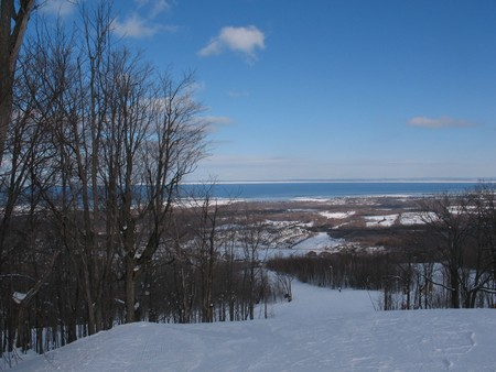 A beautiful view of Georgian Bay from the top of Blue Mountain at Collingwood. in February. Stock Photo - 4418584