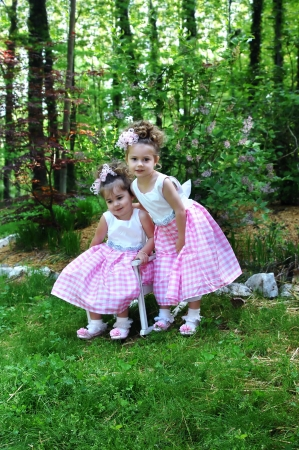 easter sunday: Sisters lean close together to model their Easter Sunday morning dresses.  One is standing and one is sitting.  Both are wearing identical pink and white gingham dresses and matching hairbows.
