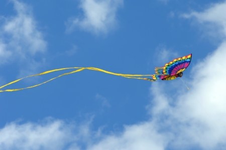beach butterfly: Gorgeous butterfly kite soars against a vivid blue sky at the Cape Charles, Virginia