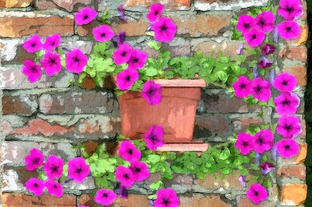 Brilliant petunias grow along an old brick wall   Rustic brick with cracked mortar sets off the glow of the purple petunias Stock Photo - 14824929