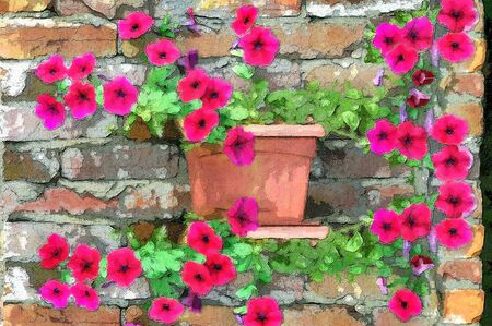 brick and mortar: Brilliant petunias grow along an old brick wall   Rustic brick with cracked mortar sets off the glow of the purple petunias  Stock Photo