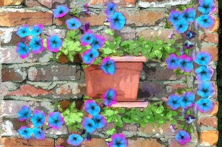 Brilliant petunias grow along an old brick wall   Rustic brick with cracked mortar sets off the glow of the purple petunias Stock Photo - 14824928
