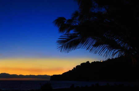 Two small light blinks on the mountain at Laupahoehoe Beach Park on the Big Island of Hawaii.  Palm fronds are silhouetted as the sky is colored with orange and pink. photo