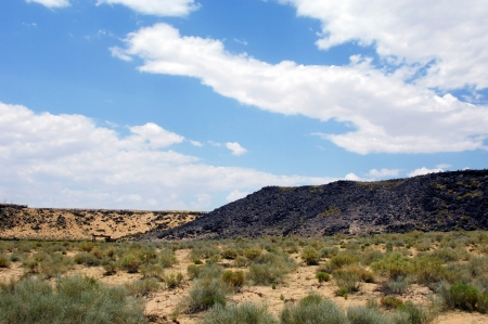Standing in Boca Negra Canyon, the Petroglyph National Monument looks pretty barren.  It is only as you get closer to the basalt rocks that the petroglyphs can be seen. photo