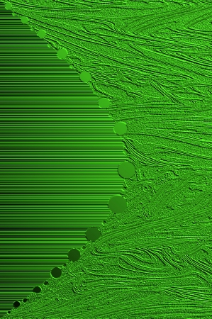 curving lines: Two textured patterns of swirls and lines meet in the middle of a curving row of round circles.  Brilliant Green in color metallic sheet apears in darkness and light. Stock Photo