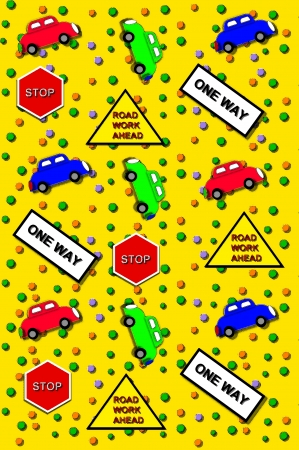motorists: Automobiles ride across graphic with colorful graffitti falling around vehicles   Traffic signs warn and instruct motorists  Stock Photo