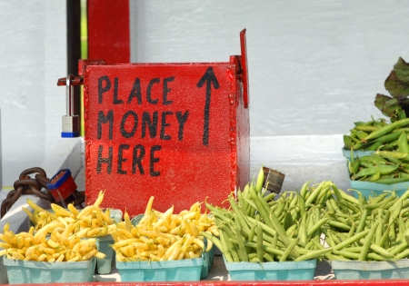 Amish roadside vegetable stand has steel, red painted, padlocked money box   Wax beans and green beans sit in cartons for sale to the public  Banque d'images