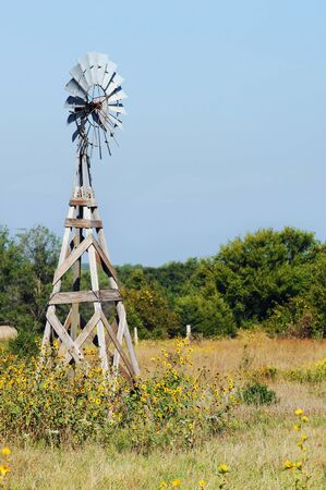overgrown: Rustic, wooden, windmill stands idle in a field of sunflowers in Central Kansas. Stock Photo