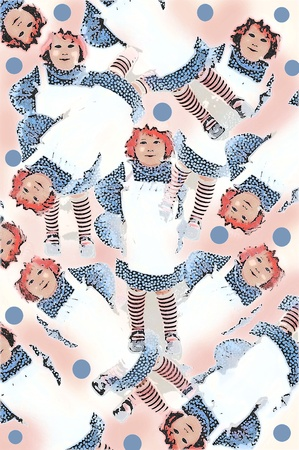 Old fashioned Raggedy Ann style doll costume comes complete with a little girl  smirk.  With Apron and striped socks, her hair is red yarn and topped with a white mop hat.  Accenting pink smudges and blue polka dots fill page. Stock Photo