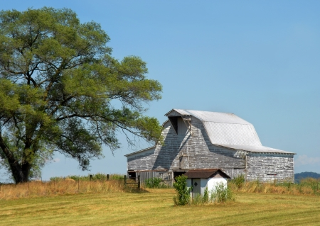 Big white barn is weathered, wooden, rustic and includes a tin roof.  Landscape image in Tennessee with blue skies and a field of golden grass. Stock Photo - 14863153