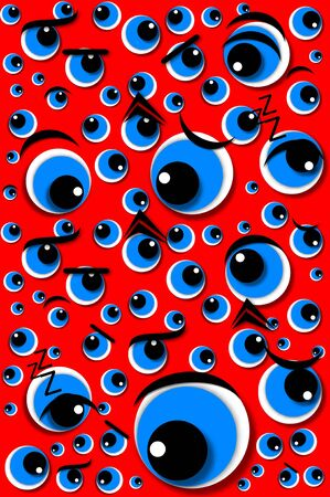 Background image shows Angry Eyes.   Image has red background and is covered with eyeballs expressing angry emotion.