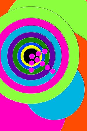 bull's eye: Dead Center and Bulls Eye are illustrated by hot pink arrow hitting center of multi-colored, circled target.