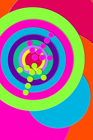 Dead Center and Bulls Eye are illustrated by a hot pink and green arrow hitting center of multi-colored, circled target. photo