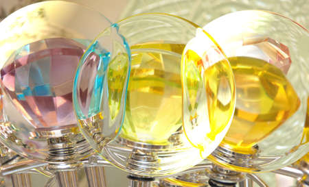 Large pink, blue and yellow diamonds are encased in transparent bubble.  Valuables protected by a glass case. Stock Photo - 14863825