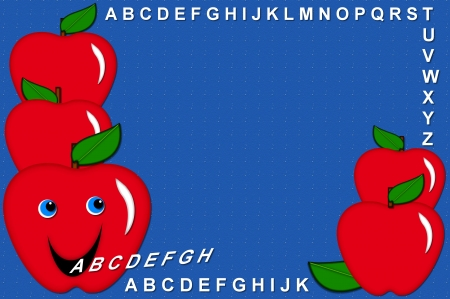 spitting: Bulletin board designed frame with talking apples spitting out the letters of the alphabet A to Z.  Bright blue background has tiny white specks across surface. Stock Photo