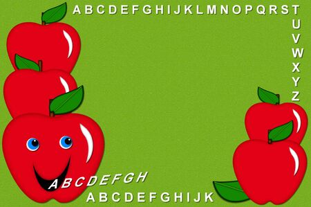 spitting: Bulletin board designed frame with talking apples spitting out the letters of the alphabet A to Z.  Bright green background has tiny white specks across surface.