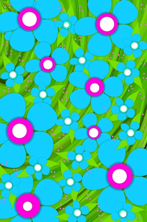 centers: Scrapbooking background of brilliant blue flowers with pink and white centers.  Forrest of green leaves and pink polka dots fill bottom layer.