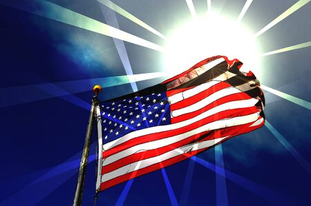 dignity: Spotlights and brilliant sunshine highlight an abstract rendition of the United States flag   Shining and glorious it stands stark against a brilliant deep blue sky