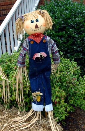 Female scarecrow, wearing overalls and bandana, guards home in suburban city   She has a painted face with painted smile  Stock Photo