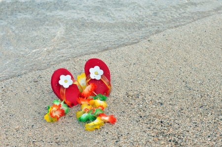 Little childs red flipflops with white flowers are lodged in the sand along with a flower lei   Both are laying on a salt and pepper beach on the Kohala Coast of the Big Island of Hawaii  photo