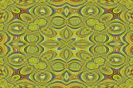 Graphic illustration of modern rug desgn   Colors are yellow, green, and blue   Design incorporates circles and ovals
