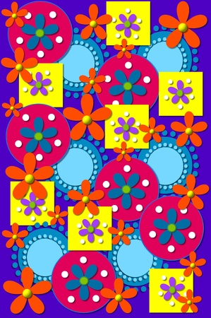 Geometric shapes in yellow, pink and blue cover green  background image   Orange Flowers have yellow centers and blue flowers have green centers  Stock fotó
