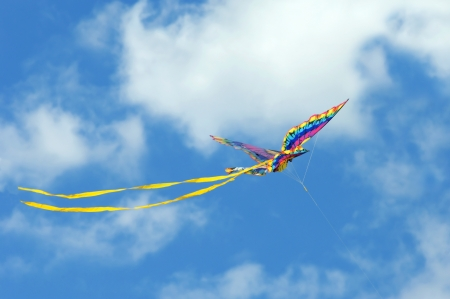 High flying butterfly kite sails against a vivid blue sky filled with fluffy white clouds from the beach at Cape Charles, Virginia  photo