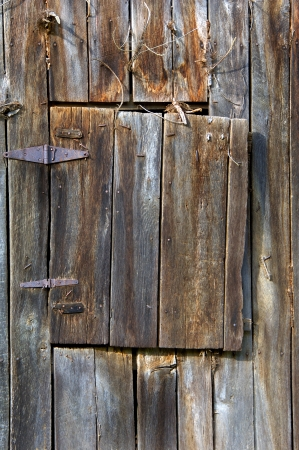 Weathered wood, leather and iron hinges hold an aging loft door to this old barn covered with rusty and bent nails  Stock Photo