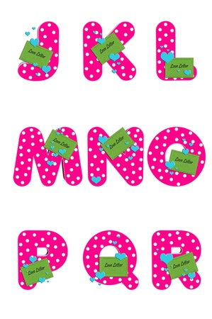 J to R in the Alphabet  Love Letters  are hot pink with polka dots   Small envelope is green  photo