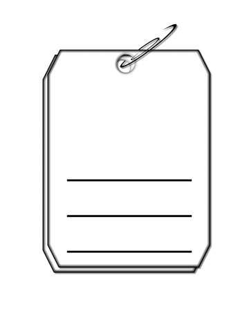 Graphic illustration shows two tags clipped together with paper clip   Lines on tag are blank for personalization
