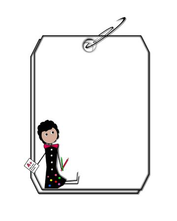 clipped: Two blank tags are clipped together with black paper clip   Stick figure of teacher sits in corner of blank tag