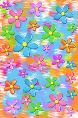 muted: 3D daisies float on a background of muted colors in aqua, orange and hot pink.