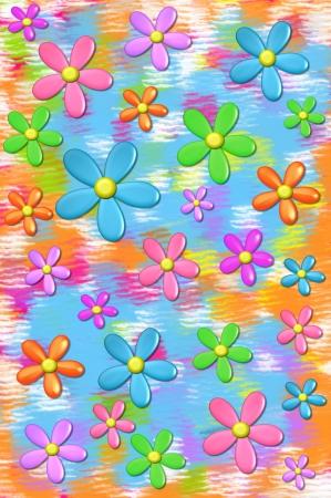 3D madeliefjes drijven op een achtergrond van gedempte kleuren in aqua, oranje en roze. Stockfoto
