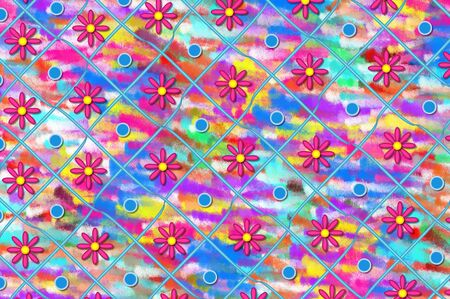 frosted: Artistic background with daisies and blue dots.  Rows have ribbon, dots and flowers.   Frosted color fills background. Stock Photo