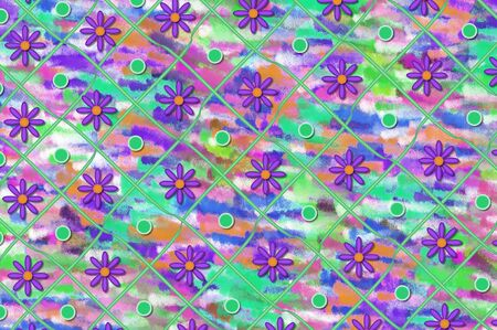Artistic background with daisies and blue dots.  Rows have ribbon, dots and flowers.   Frosted color fills background. Stock Photo - 14923617