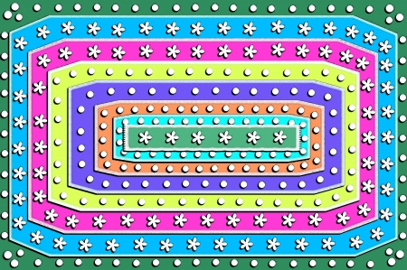 Painting of a girly rug in funky colors with pom poms and daisy shapes.  Seven different colors circle rectangle center of six chenille flowers. Stock Photo - 14922790