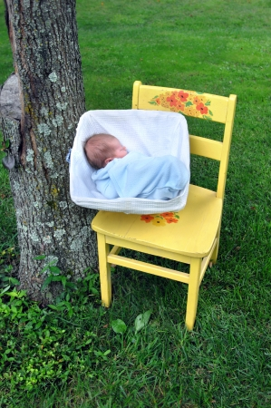 Bright wooden chair holds newborn sleeping in a square, wicker basket.  Green grass and rustic tree trunk frames sweet baby. photo