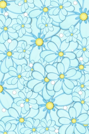 Scrapbooking background of blue daisies with yellow centers   White polka dots are scattered across image