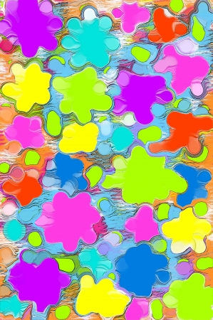mingled: Background has paint splattered in hot colors of lime, hot pink, yellow, purple and blue