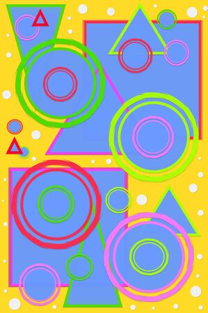 square shape: Geometric designed scrapbooking page with circles, squares and triangles in hot colors   Bright yellow background is polka dotted with white dots  Stock Photo