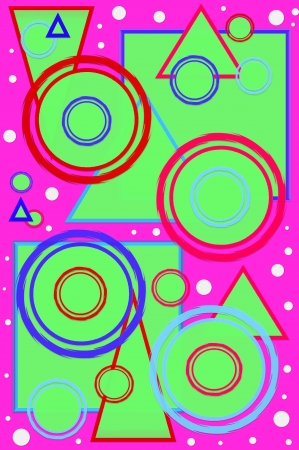 bright: Geometric designed scrapbooking page with circles, squares and triangles in hot colors   Hot pink background is polka dotted with white dots