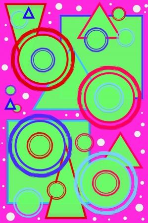 polka dotted: Geometric p�gina dise�ada scrapbooking con c�rculos, cuadrados y tri�ngulos en colores calientes fondo de color rosa caliente es polka punteado con puntos blancos