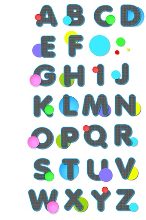 Alphabet letters A to Z have black and white checked pattern   Circles in bright colors and in large and small sizes decorate each letter Stock Photo - 15024146
