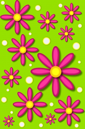Scrapbooking background has hot pink daisies and white dots backed by lime green Stock Photo - 15023709