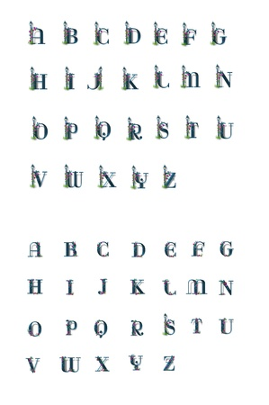 alphabet letters A to Z are decorated with a fancy lamp post decorated with flowers   Also included are the lower case letters decorated with the same flowers but minus the lamp post
