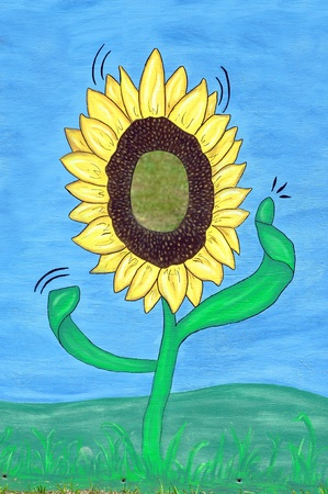 pretend: Come play at being a large sunflower   Face frame of waving sunflower is painted on a large sheet of plywood   Vivid blue sky and bright green grass serve as background for colorful display   backdrop for photography