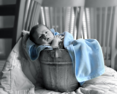 Tiny baby relaxes in a rustic aluminum pail swaddled in blankets.  He is awake and looking around his new home.