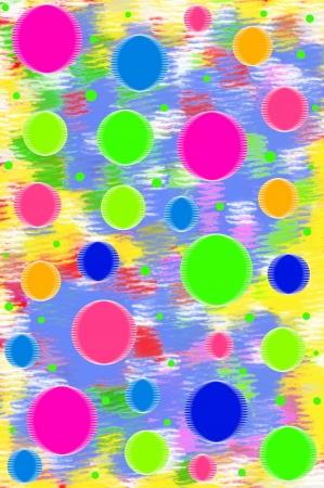 mingled: Background has mixture of blue, yellow, pink and white.  Scrapbook page has floating circles of fun colors in cool colors of  lime, bright blue, yellow and hot pink.