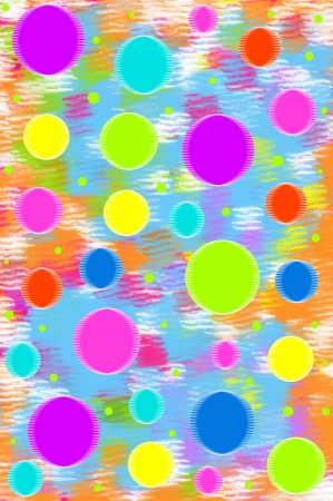 Background has mixture of aqua, orange, pink and white.  Scrapbook page has floating circles of fun colors in cool colors of aqua, lime, purple, yellow and hot pink. Stock Photo - 15024121